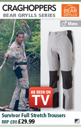 Craghoppers Mens Bear Grylls Survivor Full Stretch Trousers - Steel/Black