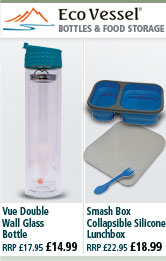 Eco Vessel Vue Double Wall Glass Bottle and Smash Box Collapsible Silicone Lunchbox