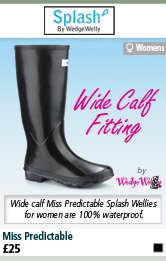 Splash Miss Predictable Wellington Boots by Wedge Welly (Women's) - Black